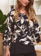 Floral Print Slit Sleeve Blouse, Black