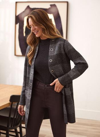 Eyelet Detail Striped Cardigan, Grey,  fall winter 2020, cardigan, open, striped, pockets, print, eyelet, long sleeve, knit, stripe, pattern, grommet, detail