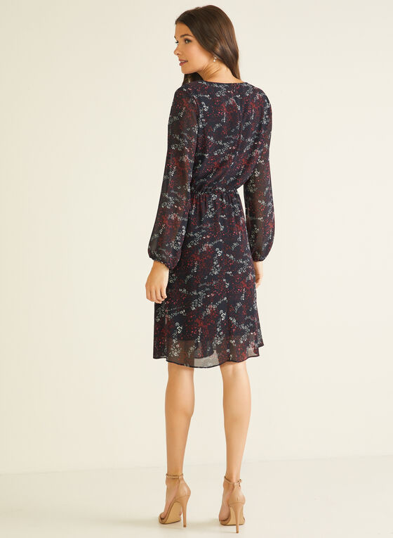 Floral Print Balloon Sleeve Dress, Red