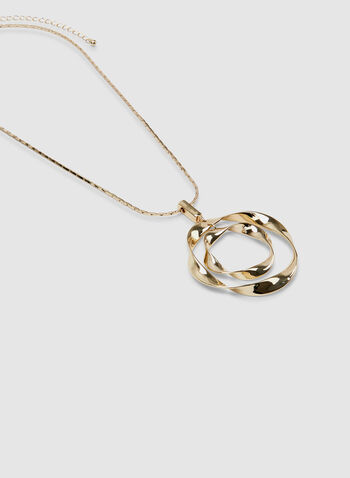 Twisted Ring Pendant Necklace, Gold, hi-res,  necklace, chain, spring 2019