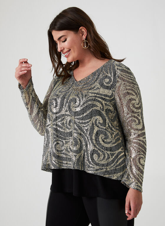 Joseph Ribkiff - Metallic Knit Top, Black