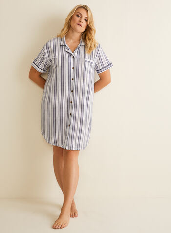 Claudel Lingerie - Striped Nightshirt , White,  nightshirt, stripe, short sleeves, chest pocket, notch collar, claudel lingerie, spring summer 2019