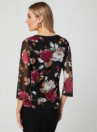 Haut à motif floral et manches ¾ , Noir, hi-res