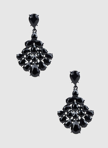 Rhinestone Dangle Earrings, Black,  canada, earrings, dangle earrings, rhinestones, fall 2019, winter 2019