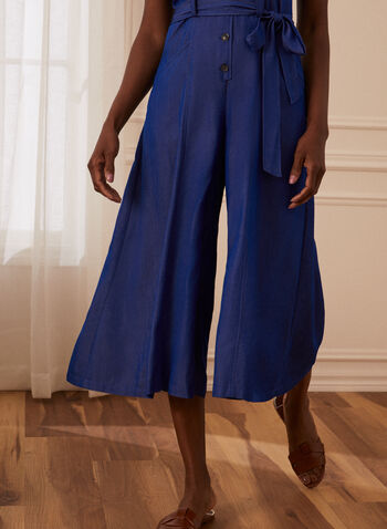 Button Detail Jumpsuit, Blue,  jumpsuit, day, sleeveless, sweetheart, button front, sash, belt, tie, pockets, fit flare, spring summer 2021
