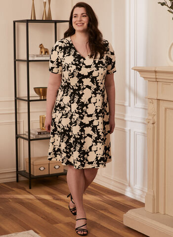 Floral Print Flare Dress, Black,  Spring Summer 2021, dress, short sleeves, fitted, flared, v-neck, floral, crepe