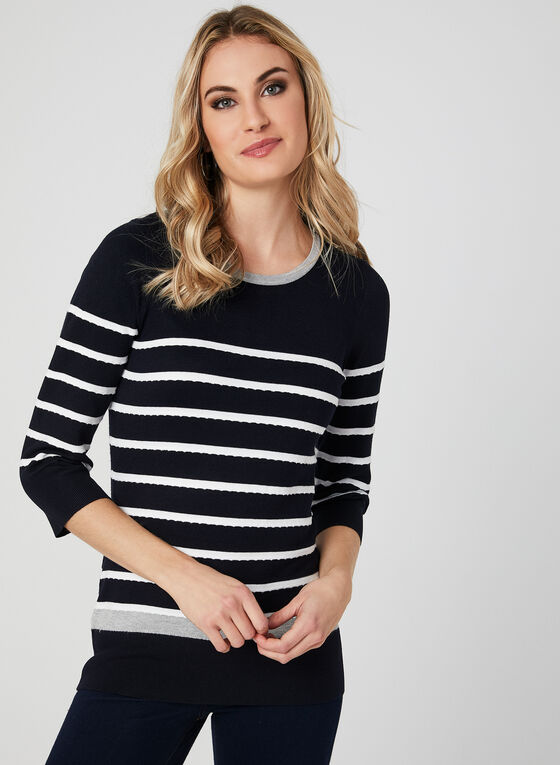 Stripe Print Knit Top, Blue, hi-res