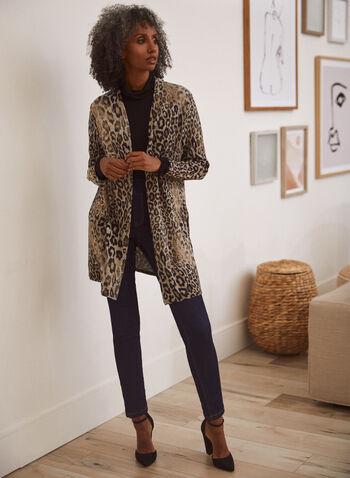 Cardigan ouvert à motif léopard, Noir,  cardigan, gilet, manches longues, ouvert, motif, imprimé, animal, léopard, boutons, dorés, mi-long, extensible, fait au Canada, automne 2021