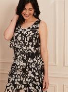 Tiered Leaf Print Dress, Black