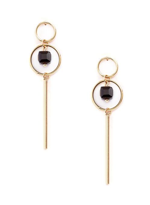 Contrast Hoop Bar Earrings, Black, hi-res