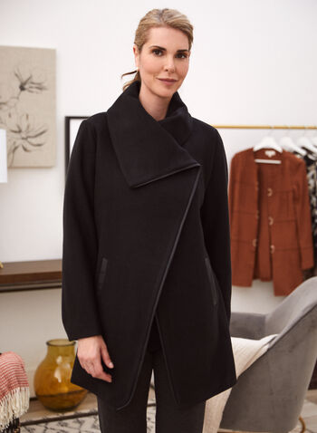 Asymmetric Stretch Faux Wool Coat, Black,  fall winter 2021, coat, outerwear, asymmetric, asymmetrical, envelope collar, fold-over collar, folded, long sleeve, concealed buttons, vegan leather, faux leather, pockets, wool blend, wool, faux wool