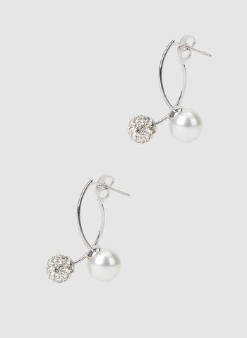 Boucles d'oreilles à perle et sphère, Blanc cassé, hi-res,  boucles d'oreilles, perle, sphère, automne hiver 2019