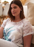 Tropical Print Lace Detail Tee, Green