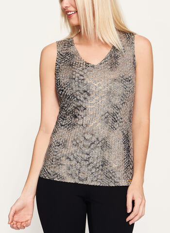 Vex - Abstract Print Sleeveless Top, Brown, hi-res