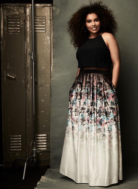 Floral Print Popover Dress , Black