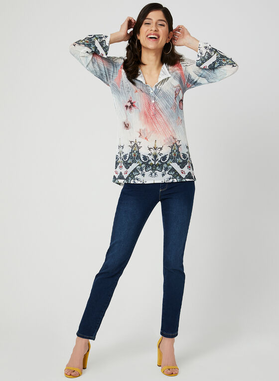 GG Jeans - Jean pull-on à jambe étroite, Bleu, hi-res