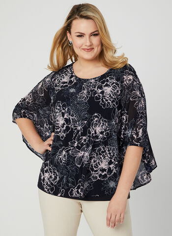Floral Print Poncho Blouse, Blue, hi-res,  chiffon, canada, spring 2019