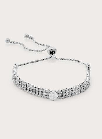 Crystal Encrusted Bracelet, Silver, hi-res