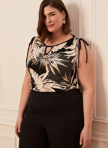 Tropical Print Tie Detail Top, Black,  top, keyhole, tropical, short sleeves, scoop neck, jersey, spring summer 2020