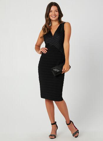 Plunging Neckline Cocktail Dress, Black,  cocktail dress