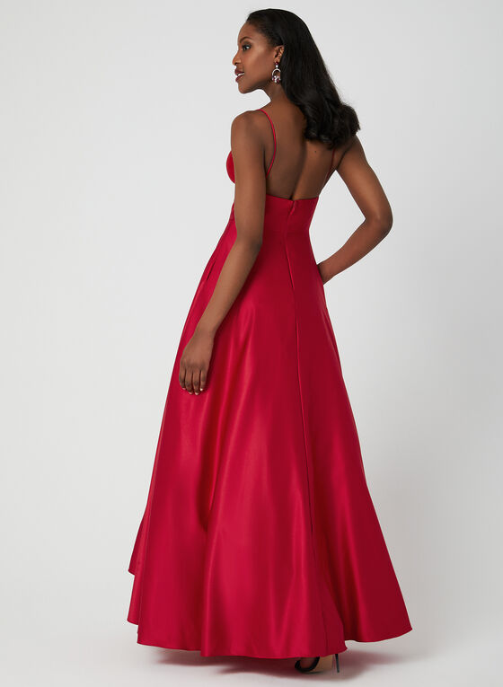 Sleeveless Open Back Ball Gown, Red