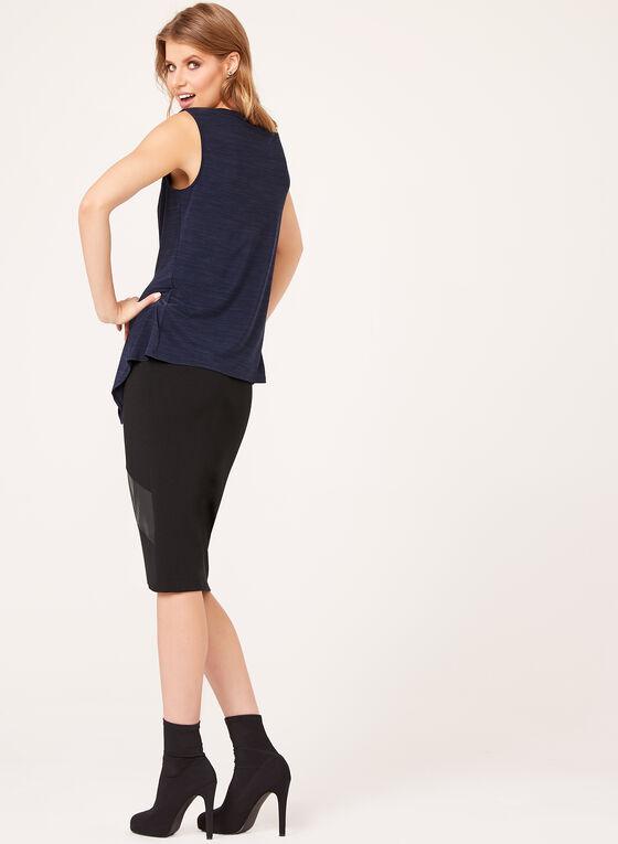 Haut sans manches coupe asymétrique, Bleu, hi-res