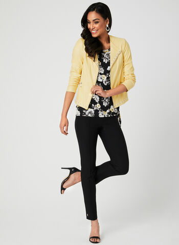 Asymmetrical Floral Print Top, Black, hi-res