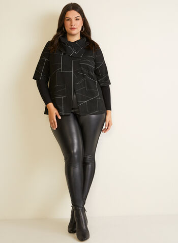 Geometric Print Cowl Collar Top, Black,  fall winter 2020, top, geometric print, jacquard, knit, long sleeves, made in canada
