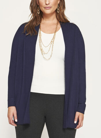 Pleated Collar Open Front Cardigan, , hi-res