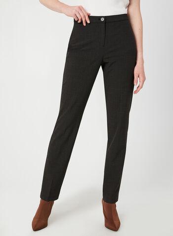 Pantalon coupe signature à carreaux, Brun, hi-res,  taille haute, hanches courbées, ceinture confortable, automne hiver 2019