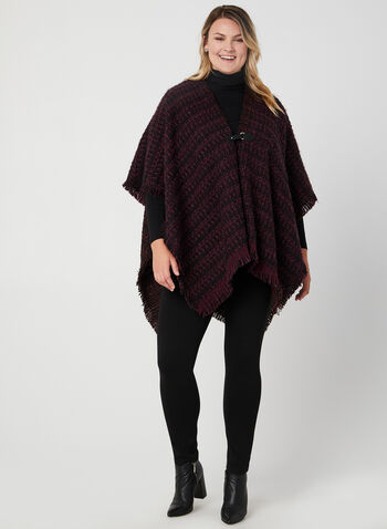 Vince Camuto - Tweed Ruana , Purple, hi-res,  winter scarf, shawl