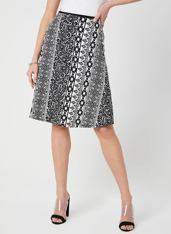 Scarf Print Skirt, Black, hi-res