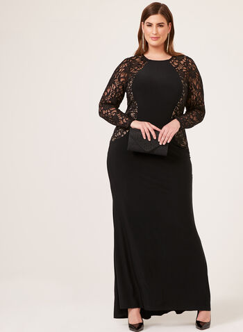 Marina - Jersey & Lace Dress, Black, hi-res