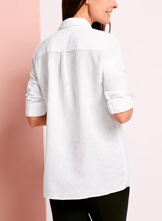 Blouse en lin à manches repliables, Blanc, hi-res