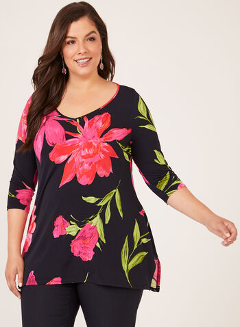 Floral Print ¾ Sleeve Tunic, Blue, hi-res