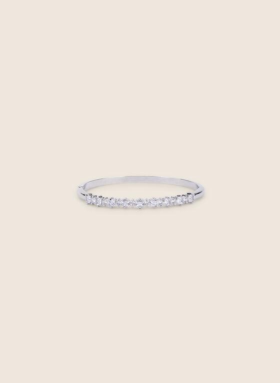 Bracelet métallisé à  détails cristaux, Argent