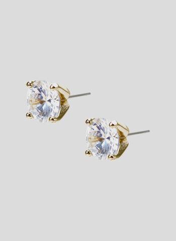Crystal Stud Earrings, Gold, hi-res