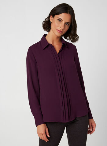 Crepe Long Sleeve Pleated Blouse , Purple, hi-res,  crepe, long sleeves, pleated, blouse, fall 2019, winter 2019