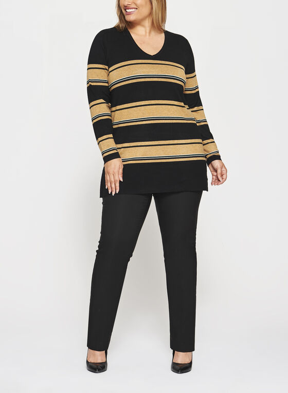 Stripe Print Scoop Neck Sweater, Black, hi-res