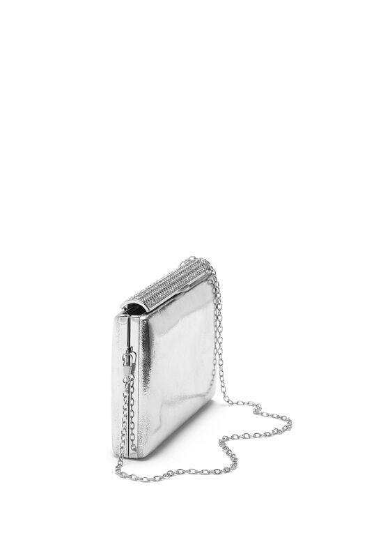 Crystal Metallic Box Clutch, Silver, hi-res
