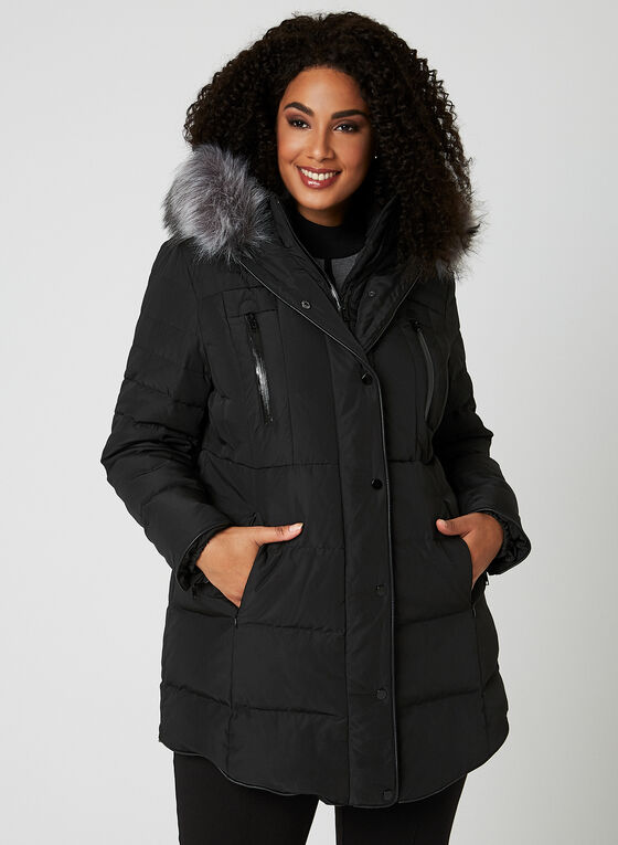 Quilted Down Coat, Black, hi-res