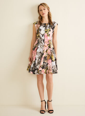 Fit & Flare Floral Print Dress, Black,  day dress, floral print, floral dress, dress, short dress, fit & flare, a-line dress, spring 2020, summer 2020