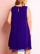 Embellished Tuck Neck Chiffon Dress, Blue, hi-res