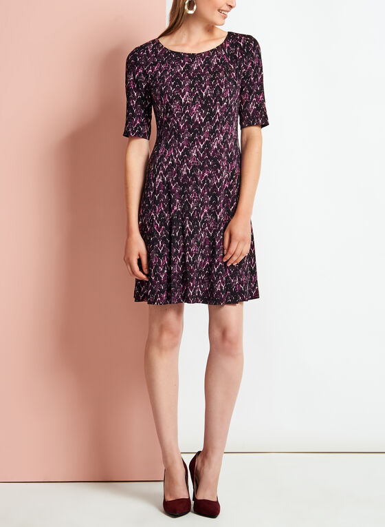 Elbow Sleeve Chevron Print Jersey Dress, Purple, hi-res