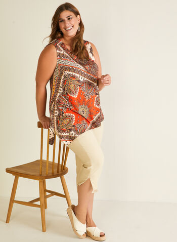 Mandala Print Asymmetric Top, Orange,  top, asymmetric, mandala, sleeveless, round neck, crepe, spring summer 2020