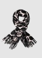 Foulard oblong à motif ronds, Noir