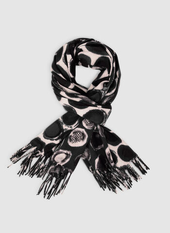 Dot Print Scarf, Black,  fall winter 2019, button print, fringe