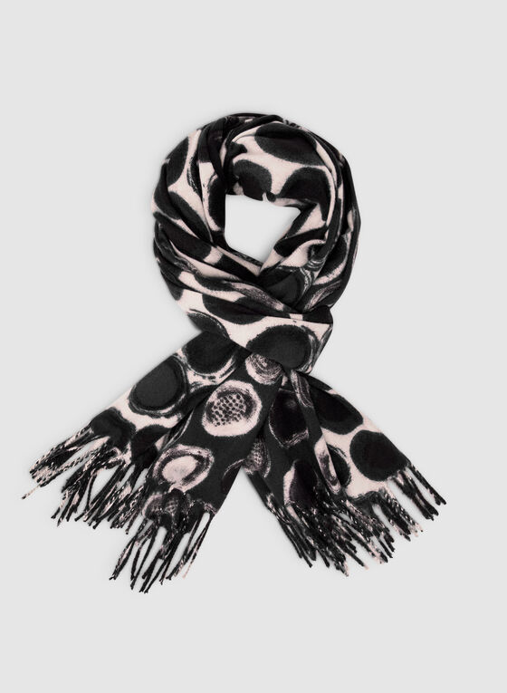 Dot Print Scarf, Black