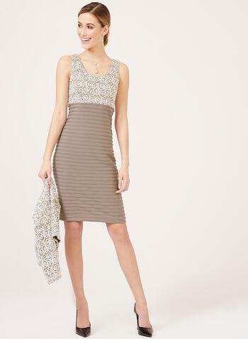 Lace Bodice Dress With Bolero, White, hi-res