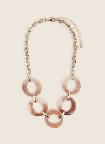 Open Ring Chain Necklace, Off White,  necklace, metallic, resin, open ring, chain necklace, spring 2020, summer 2020